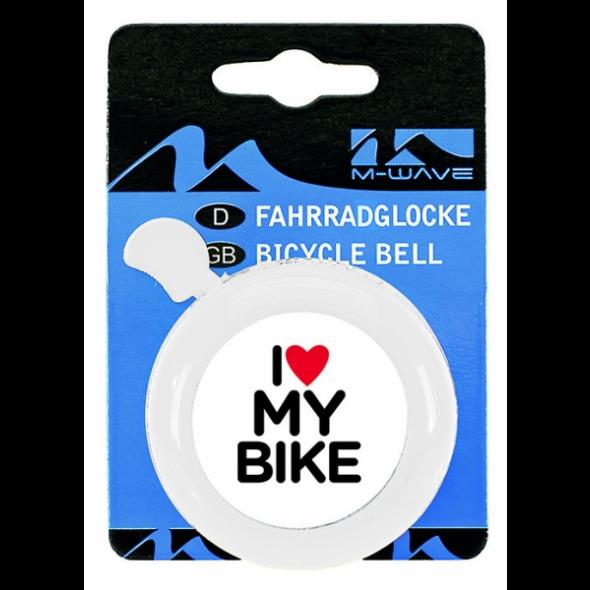 Zvonček I love my bike, biely