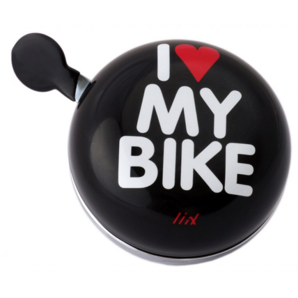 Zvonček Liix Ding Dong I Love My Bike XXL, čierny