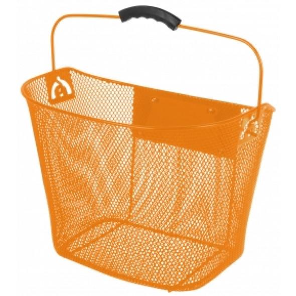 Oceľový košík Ventura, predný s upínacím mechanizmom oranžový