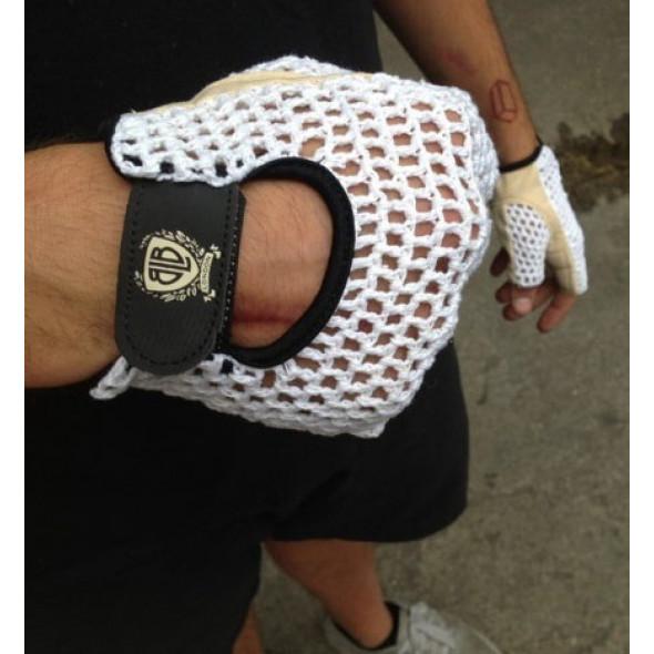 BLB kožené rukavičky biele S