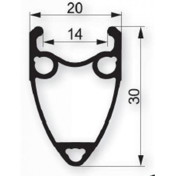 Ráfik Remerx Taurus 622x14, 36 dier, strieborný elox