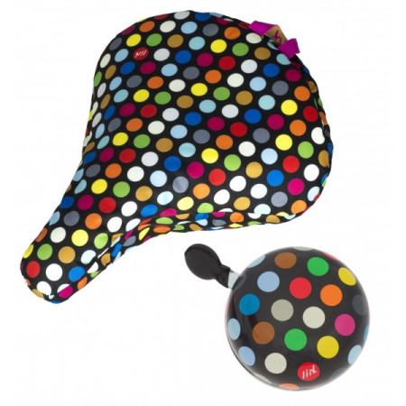 Liix Set zvonček+kryt na sedlo Polka Big Dots Mix Black