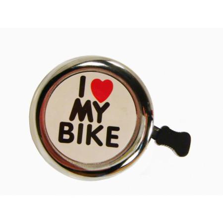 Zvonček I love my bike, strieborný
