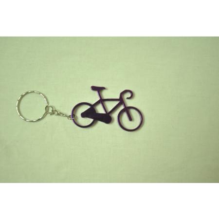 Prívesok na kľúče - bicykel, fialový