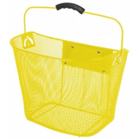 Oceľový košík Ventura, predný s upínacím mechanizmom žltý