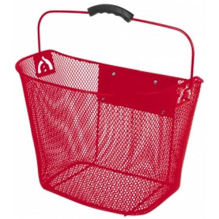 Oceľový košík Ventura, predný s upínacím mechanizmom červený